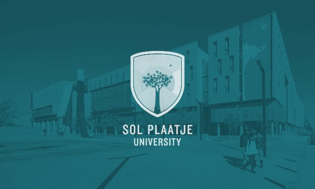Sol Plaatje University teal banner